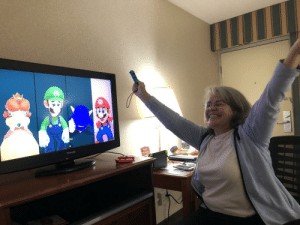 My mother, who I barley see due to college, decided to come up for my 20th. She also never truly played a video game in her life, and beat me and some CPUs at Mario Party. I just couldn't help but feel happy and proud for her when she won: My mother, who I barley see due to college, decided to come up for my 20th. She also never truly played a video game in her life, and beat me and some CPUs at Mario Party. I just couldn't help but feel happy and proud for her when she won