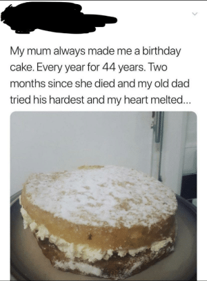 Birthday, Dad, and Cake: My mum always made me a birthday  cake. Every year for 44 years. IWO  months since she died and my old dad  tried his hardest and my heart melted What a great dad