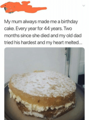 Birthday, Dad, and Cake: My mum always made me a birthday  cake. Every year for 44 years. Two  months since she died and my old dad  tried his hardest and my heart melted... Heart melting
