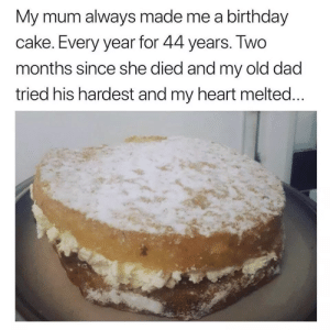 Extremely sweet via /r/wholesomememes https://ift.tt/2PrQkzU: My mum always made me a birthday  cake. Every year for 44 years. Two  months since she died and my old dad  tried his hardest and my heart melted... Extremely sweet via /r/wholesomememes https://ift.tt/2PrQkzU