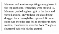 Memes, Slow Motion, and Glasses: My mum and aunt were putting away glasses in  the top cupboard, when they were around 15.  My mum pushed a glass right to the back and  turned around, only to hear the glass being  dragged back through the cupboard. It came  right over the edge and fell to the floor in slow  motion, then hovered over the floor. The glass  shattered before it hit the ground https://t.co/zCSl3bIZ5t