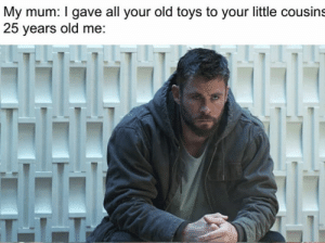 Meirl by saraanshhh MORE MEMES: My mum: I gave all your old toys to your little cousins  25 years old me:  T11 Meirl by saraanshhh MORE MEMES