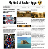 """Justice league trailer was dope can't wait!! Oh happy Easter 😈😈.. .. apolonario batman superman justiceleague eastereggs easter happyeaster comicbooks dccomics flash theflash greenlantern manofsteel comics darkseid lexluthor wonderwoman aquaman motherbox jasonmomoa henrycavill benaffleck galgadot like4like likeforlike dwaynejohnson blackadam: My My kind of Easter Eggs  Apolonario  Go  GD  www.cbr com  """"BATMAN V SUPERMAN  OMEGA  PARADEMONS  EVERY EASTER EGG AND  REFERENCE  1 year ago  Also in the Knightmare sequence, etched in the  Yep, those are Parademons the shock troops  dessert in front of Batman is a giant Omega: the  of  Apokolips, home of DCComics uber-baddie  symbol of Darkseid.  Darkseid, attacking Batman (Ben Affleck) in the  Knightmare sequence. Though their color  INJUSTICE AMONG US  scheme doesn't match, they most closely  You can't have a superhero movie without  resemble artist  take on the characters  copious references and nudging winks to the  from the New 52  Justice League comic, which  KGBeast  The Mother Boxes were featured in Dawn  Luthor's tattooed henchman is named Anatoli  Stryker's Island  of Justice and so was the villain of JL,  Knyazev, who we know in the comics asthe  Part of the Doomsday fight takes place on Steppenwolf. We see in the trailer some  KGBeast, a Batman villain who works as an  Stryker's Island, which they say is abandone people dressed in medieval outfits and are  assassin for, you guessed it, the KGB.  In the comics, Stryker'slsland is a Metropol  seen burying a Mother Box. Some  prison that holds some of Superman'  most assumed they were New Gods, but nope  dangerous foes.  they are men. Know why? Because in  leaked plot details, men, Amazonians and  Atlanteans formed an alliance against  Darkseid and his army and won, with the  Mother Boxes being left behind and  Steppenwolf is after them (possibly).  Also, Darkseidis said to not be the villain  for this flm but will appear. That sounds  amazing, frankly.  Justice Lea"""