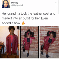 """""""I follow @kalesalad and u should too"""" - Kendall Jenner and Jesus: My My  @My Lyndas  Her grandma took the leather coat and  made it into an outfit for her. Even  added a bow """"I follow @kalesalad and u should too"""" - Kendall Jenner and Jesus"""