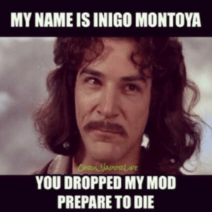 my name is inigo montoya: MY NAME IS INIGO MONTOYA  YOU DROPPED MY MOD  PREPARE TO DIE