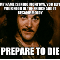 inigo montoya: MY NAME IS INIGO MONTOYA, YOU LEFT  YOUR FOOD IN THE FRIDGEANDIT  BECAME MOLDY  PREPARE TO DIE
