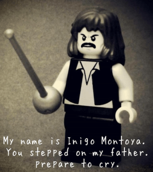 Found this and almost died laughing.: My name is Inigo Montoya.  You stePPed on my father.  PrePare to cry. Found this and almost died laughing.