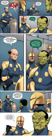 wadewilson-parker:Deadpool (2015) #30: MY NAME  IS SCOTT ADSIT  AND I'M FROM  EARTH  C'MON  WE'RE NOT  ALL BAD  YOUR  PEOPLE BLEW  UP MY PLANET  ㄟ   SHOULDN'T  YOU BE WEARING  THAT NOVA  HELMET?  T HURTS MY  EARS. THE CORPS  SHOULD MAKE ME A  SPECIAL HELMET  TO FIT MY HEAD.   YOU'REA  SHAPE-SHIFTER  CAN T YOU JUST  CHANGE THE SHAPE  OF HEAD AND  SOUEEZE INTO  IT?  YOU CAN'T  MAKE HIM SHIFT  IF HE DOESN'T  WANT TO. THAT'S  SPECIESISM wadewilson-parker:Deadpool (2015) #30