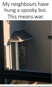 Spooky, Boi, and War: My neighbours have  hung a spooky boi  This means war. this transgression will not go unpunished