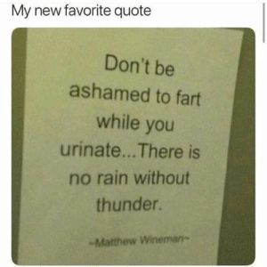 Be Ashamed: My new favorite quote  Don't be  ashamed to fart  while you  urinate... There is  no rain without  thunder.  -Matthew Wineman-