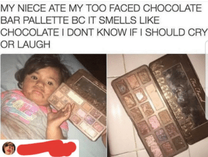 Definitely, Chocolate, and Too Faced: MY NIECE ATE MY TOO FACED CHOCOLATE  BAR PALLETTE BC IT SMELLS LIKE  CHOCOLATE I DONT KNOW IF I SHOULD CRY  OR LAUGH  Chre Thur en  Tov Faced Cry, definitely cry