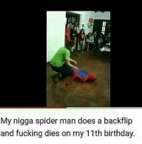 Birthday, Fucking, and Memes: My nigga spider man does a backflip  and fucking dies on my 11th birthday. Too soon.