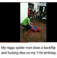 Birthday, Fucking, and My Nigga: My nigga spider man does a backflip  and fucking dies on my 11th birthday.