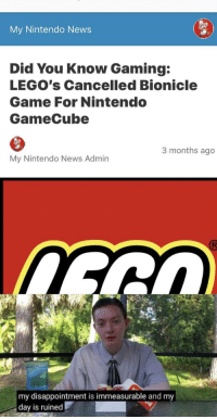 Did You Know Gaming: My Nintendo News  Did You Know Gaming:  LEGO's Cancelled Bionicle  Game For Nintendo  GameCube  3 months ago  My Nintendo News Admin  my disappointment is immeasurable and my  day is ruined