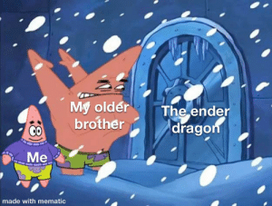 Dragon, Brother, and Ender: My older  brother  The ender  dragon  Me  made with mematic  18 Gamers rise up