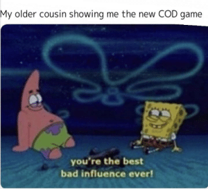 Bad, Best, and Computer: My older cousin showing me the new COD game  you're the best  bad influence ever! On grandmas computer