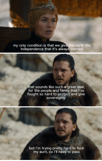 "Family, Game of Thrones, and Tumblr: my only condition is that we give the north the  independence that it's always wanted   that sounds like such a great deal  for the people and family that l've  fought so hard to protect and give  sovereignty   but I'm trying pretty hard to fuck  my aunt, so l'll have to pass <p><a href=""http://bb8s.tumblr.com/post/164723938479/what-you-missed-on-7x07-of-game-of-thrones"" class=""tumblr_blog"">bb8s</a>:</p> <blockquote><p><a href=""http://bb8s.tumblr.com/post/164723136244/what-you-missed-on-7x07-of-game-of-thrones"">What you missed on 7x07 of Game of Thrones</a></p></blockquote>"
