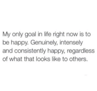 Life Right Now: My only goal in life right now is to  be happy. Genuinely, intensely  and consistently happy, regardless  of what that looks like to others.