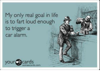 memes: My only real goal in life  is to fart loud enough  to trigger a  car alarm.  your  e cards  com