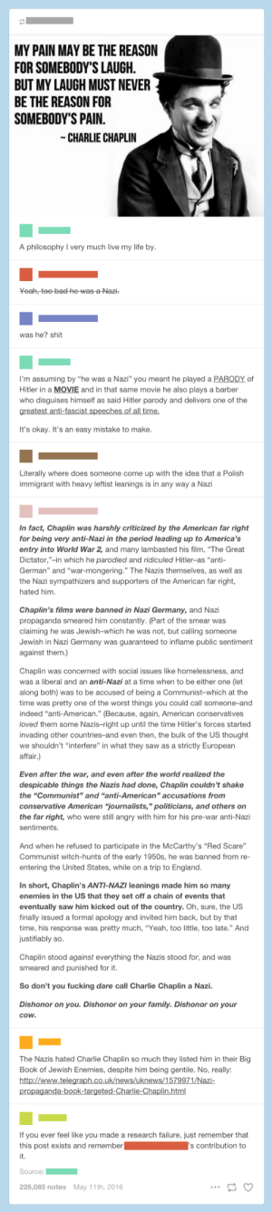 """""""Charlie Chaplin was a Nazi"""": MY PAIN MAY BE THE REASON  FOR SOMEBODY'S LAUGH  BUT MY LAUGH MUST NEVER  BE THE REASON FOR  SOMEBODY'S PAIN  CHARLIE CHAPLIN  A philosophyI very much live my life by  was he? shit  I'm assuming by """"he was a Nazi"""" you meant he played a PARODY of  Hitler in a MOVIE and in that same movie he also plays a barber  who disguises himself as said Hitler parody and delivers one of the  It's okay. It's an easy mistake to make.  Literally where does someone come up with the idea that a Polish  immigrant with heavy leftist leanings is in any way a Nazi  In fact, Chaplin was harshly criticized by the American far right  for being very anti-Nazi in the period leading up to America's  entry into World War 2, and many lambasted his film, """"The Great  Dictator,""""-in which he parodied and ridiculed Hitler-as """"anti-  German"""" and """"war-mongering."""" The Nazis themselves, as well as  the Nazi sympathizers and supporters of the American far right,  hated him.  Chaplin's films were banned in Nazi Germany, and Nazi  propaganda smeared him constantly. (Part of the smear was  claiming he was Jewish-which he was not, but calling someone  Jewish in Nazi Germany was guaranteed to inflame public sentiment  against them.)  Chaplin was concerned with social issues like homelessness, and  was a liberal and an anti-Nazi at a time when to be either one (let  along both) was to be accused of being a Communist-which at the  time was pretty one of the worst things you could call someone-and  indeed """"anti-American."""" (Because, again, American conservatives  loved them some Nazis-right up until the time Hitler's forces started  invading other countries-and even then, the bulk of the US thought  we shouldn't """"interfere"""" in what they saw as a strictly European  affair.)  Even after the war, and even after the world realized the  despicable things the Nazis had done, Chaplin couldn't shake  the """"Communist"""" and """"anti-American"""" accusations from  conservative American """"journalists,"""" pol"""
