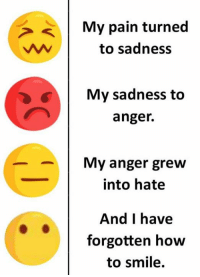 Memes, How To, and Smile: My pain turned  to sadness  >  My sadness to  anger.  My anger grew  into hate  And I have  forgotten how  to smile.