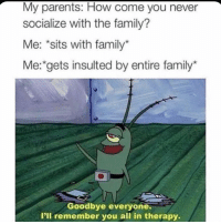 Family, Memes, and Parents: My parents: How come you never  socialize with the family?  Me: *sits with family*  Me: gets insulted by entire family  Goodbye everyone.  I'll remember you all in therapy 😂Facts