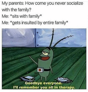 Family, Parents, and Never: My parents: How come you never socialize  with the family?  Me: *sits with family*  Me: *gets insulted by entire family*  Goodbye everyone.  I'll remember you all in therapy.