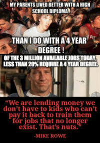 "Memes, Money, and Parents: MY PARENTS LIVED BETTER WITHAHIGH  SCHOOL DIPLOMAA  THAN I DO WITH A 4 YEAR  DEGREE!  OF THE MILIUONAVAILABLEOBSTODAY  LESSTHAN 20% REQUIREA4YEARDEGREE  ""We are lending money we  don't have to kids who can't  pay it back to train them  for jobs that no longer  exist. That's nuts.  MIKE ROWE"