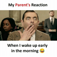 reaction: My Parent's  Reaction  When I wake up early  in the morning