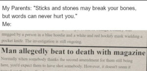 """Bones, Hockey, and Parents: My Parents: """"Sticks and stones may break your bones  but words can never hurt you.""""  Me:  mugged by a person in a blue hoodie and a white and red hockey mask wielding a  pocket knife. The investigation is still ongoing.  Man allegedly beat to death with magazine  Normally when somebody thanks the second amendment for them still being  here, you'd expect them to have shot somebody. However, it doesn't seem it Words hurt"""