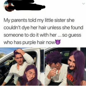 awesomacious:  Well done!!: My parents told my little sister she  couldn't dye her hair unless she found  someone to do it with her... so guess  who has purple hair now awesomacious:  Well done!!