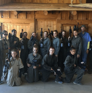 My parents took my sister and her friends paint-balling for her birthday. My dad's not really the aggressive type.: My parents took my sister and her friends paint-balling for her birthday. My dad's not really the aggressive type.