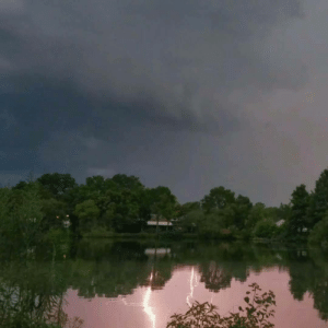 Phone, Lightning, and Water: My phone wasnt fast enough to catch the lightning strike, but it caught the reflection in the water. [OC]