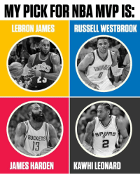 You make the call. 🤔 @ESPN https://t.co/ohXe5zxx57: MY PICK FOR NBA MVP IS.  LEBRON JAMES RUSSELL WESTBROOK  ING  SPURS  ROCKETS  JAMES HARDEN  KAWHILEONARD You make the call. 🤔 @ESPN https://t.co/ohXe5zxx57