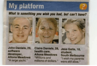 "Meirl: My platforrm  What is something you wish you had, but can't have?  John Daniels, 29,  software  developer,  Altona Meadows  ""A large yacht.""  Claire Daniels, 28,  health care,  Altona Meadows  ""Millions and  millions of dollars.""  Jess Gaite, 18,  student,  South Melbourne  . ""I wish my parents  were still alive."" Meirl"