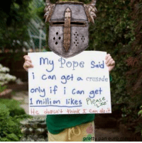 my Pope said  i can get  a crusade  only if i can  get  1 million likes please  pretty pan euro  memes