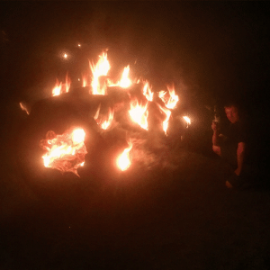 My Pyromania in Full Bloom. Horizontal Fire Sculpture: My Pyromania in Full Bloom. Horizontal Fire Sculpture