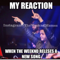 I'm back at it again ❤️enjoy xo: MY REACTION  Instagram@The  Weeknd,Memes  WHEN THE WEEKNDRELESESA  NEW SONG I'm back at it again ❤️enjoy xo