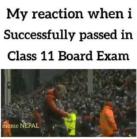exam: My reaction when i  Successfully passed in  Class 11 Board Exam  meme NEPAL