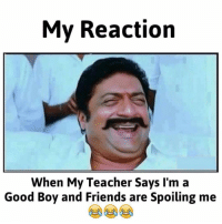 Friends, Lol, and Teacher: My Reaction  When My Teacher Says I'm a  Good Boy and Friends are Spoiling me Lol okay yes 😂😂