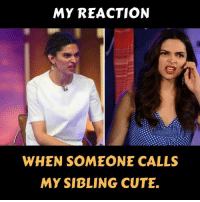 Cute, Memes, and 🤖: MY REACTION  WHEN SOMEONE CALLS  MY SIBLING CUTE