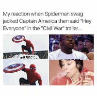 """I went full geek... You never go full geek 🤓🤓🤓🤓🤓🤓🤓: My reaction when Spiderman swag  jacked Captain America then said """"Hey  Everyone"""" in the """"Civil War"""" trailer.  Hey everyone. I went full geek... You never go full geek 🤓🤓🤓🤓🤓🤓🤓"""