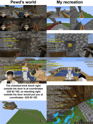 Minecraft, Cache, and Fancy: My recreation  Pewd's world  HECOME  Minecart  LAAAR  Minecraft 114.3 1.14.3/Vanilla)  59 fps (4 chunk updates) T: 120 vsync fancy-clouds ubo  Integrated server 16 ms ticks, 25 tx, 1769 rx  C: 7/29584 (s) D: 21, pC: 000, pU: 00, aB: 32  E: 26/255, B: 0  F: 54. T: 255  Client Chunk Cache: 2025, 1594  ServerChunkCache: 3969  Minecraft:overworld FC: 0  Java: 1.8.0 51 64bit  Mem: 34 712/2048MB  Allocated: 81% 1664MB  Minecraft 1.14.3 114.3vanilla)  Java: 1.8.0 51 64bit  Mem: 34 710/2048MB  Allocated: 100% 2048ME  CFU: 16x Intel(R) Core TM) i9-9900K CFU@ 3.60GHZ58 fps (0 chunk updates T: inf fast vbo  Integrated server e 16 ms ticks, 1 tx, 5 rx  Display: 1179x670 (NVIDIA Corporation C: 64/4624 (s) D: 8, pC: 000, pU: 00, aB: 08  CFU: 4x Intel (R) Core(TM) 13-3217U CFU a 1.80GHZ  GeForce RTH 2080 Ti PCIe/SSE2E: 1/3, B: 0  F: 12. T: 3  4.6.0 NVIDIA 416.817ciient Chunk Cache: 361, 206  Display: 136x705 Intel  IntelcR HD Graphics 4000  4.0.0 Build 10.18.19.4358  Server ChunkCache: 2506  Targeted Block minecraft:overuorld FC: 0  MYZ: -127.555 10.00000 189.115  Block: -128 10 189  minecraftcobblestone  Y2: -127555 10.00090 189.115  Targeted Block  Minecraft:gold_block  0 13  -8 11  Targeted FluidBlock: -128 10 189  minecraftemptyFacing south (Towards positive Z) (-3.2 2.1)  Facing: south (Towards positive 2)(-3.2 / 2.1  Client Light: 10 ( sky, 10 block)  Server Light: (0 sky, 10 block)  CH 5: 67 M: 66  SH 5: 67 0: 66 M: 66 ML: 66  Biome: minecraftplains  Local Difficulty: 3.11 //0.55 (Day 143)  Looking at block: -128 11 192  Looking at liquid: -128 11 192  Sounds: 9/247 0/8  Chunk: 1l0 13 in -8 11  Targeted Fluid  Minecraftempty  Client Light: 15 (15 sky, 10 block)  Server Light. 15 sky, 10 block)  CH 3: 8 M: 8  SH S: 8 0: 8 M: 8 ML: 8  Biome: minecraftplains  Local Difficulty: 1.51 / 000 (Day )  Looking at block: -128 11 192  Looking at liquid: -128 11 192  Sounds: /247 0/8  Debug: Fie Cshift]: hidden FPS TPS Calt: hidden  For help: press F3 +  Deb