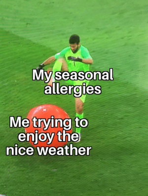 Anyone else?: My seasonal  allergies  Me trying to  enjoy the  nice weather Anyone else?