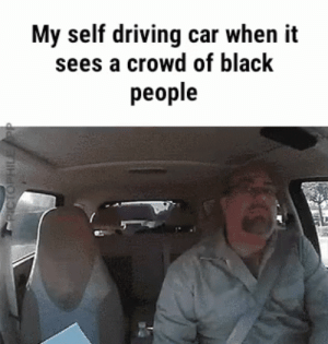 thank u tesla: My self driving car when it  sees a crowd of black  people  PICTOPHILE PP thank u tesla