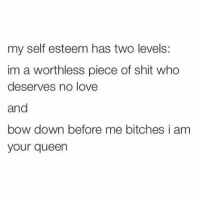 my self esteem has two levels:  im a worthless piece of shit who  deserves no love  and  bow down before me bitches i am  your queen Today? Bow down whores. 🙃🙃