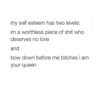 Bow Down: my self esteem has two levels:  im a worthless piece of shit who  deserves no love  and  bow down before me bitches i am  your queen