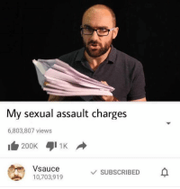 heart react if u want more spit facts: My sexual assault charges  6,803,807 views  Vsauce  SUBSCRIBED  10,703,919 heart react if u want more spit facts