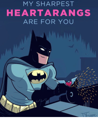 "Batman, Dicks, and Memes: MY SHAR PEST  HEART ARA NGS  ARE FOR YOU Good afternoon Gothamites and have a Happy Valentine's Day! Today we'll conclude our special holiday session ""when a Dick loves a woman: the Grayson experience"" with a few more of Grayson's most memorable relationships! To kick off this lovely day, here is a sweet art piece by illustrator @DeanTrippe! Tag your Valentine to say how much your nerdy heart flutters for them 🤓😘 to see more of @DeanTrippe's works, please visit their websites at DeanTrippe.com and DeanTrippe.Tumblr.com! Thanks for following and we'll have more History of the Batman soon. HappyValentinesDay! ✌🏼❤️💕🎨😘😍🦇"