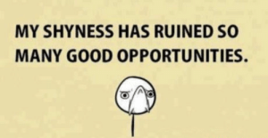 Good, Can, and Ruined: MY SHYNESS HAS RUINED SO  MANY GOOD OPPORTUNITIES. Can anybody relate?